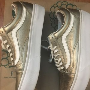 Vans Shoes - Vans Old Skool Platform Gray Gold w White Stripe